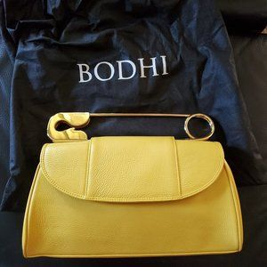 BODHI Safety Pin Clutch, Yellow, Gold Hardware